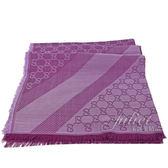 茱麗葉精品【全新現貨】GUCCI 281942 雙G 羊毛絲綢披肩圍.深紫紅