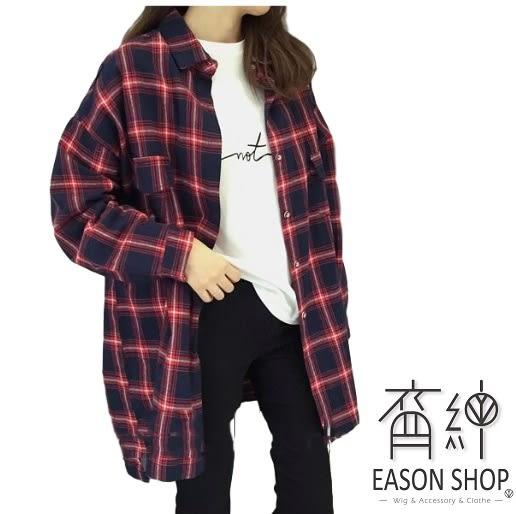 EASON SHOP(GU5508)英格蘭格紋格子長袖襯衫外套學院法蘭絨翻領長版落肩韓版大碼OVERSIZE男友風