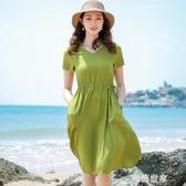 2020新款棉綢連衣裙女夏季短袖收腰顯瘦大擺裙人造棉中長款沙灘裙『潮流世家』