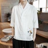 夏季中國風男士短袖T恤亞麻寬鬆衣服仙鶴刺繡棉麻半袖男裝上衣xy1214【原創風館】