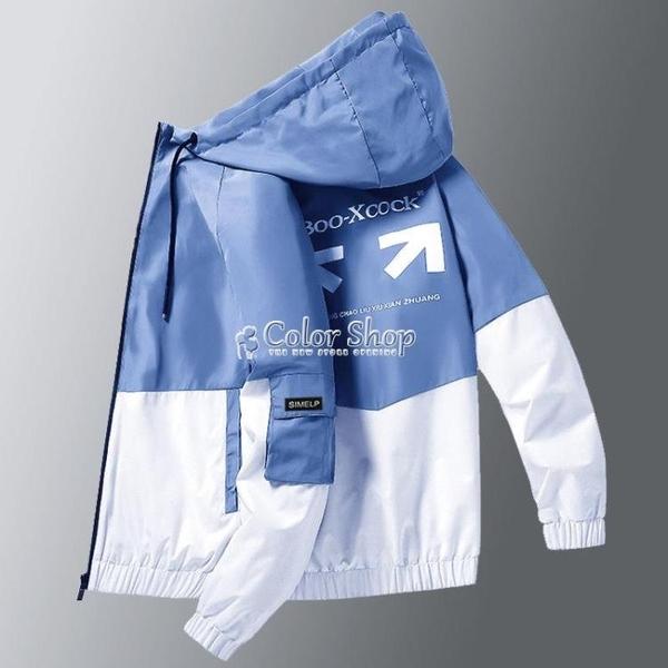 報喜公雞外套男2021春季新款工裝夾克學生韓版潮流印花連帽夾克衫 快速出貨