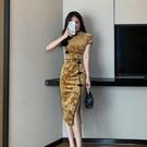 旗袍洋裝 2021年夏季新款改良版長款旗袍金絲絨修身包臀連身裙年輕款少女潮