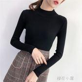 秋冬季半高領套頭短款毛衣女秋季韓版修身緊身長袖打底針織衫『櫻花小屋』
