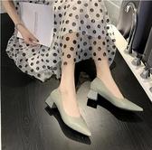 新品女鞋新款夏季淺口尖頭女士中粗跟單鞋晚晚兩穿黑色高跟鞋  韓流時裳