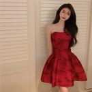 抹胸洋裝 復古紅色抹胸連身裙女夏季2021年新款裙子法式小眾名媛氣質禮服裙 寶貝 618狂歡