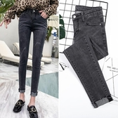 黑灰色牛仔褲女緊身韓版顯瘦九分褲春季新款小腳褲子
