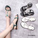 涼鞋.貴婦水鑽美腿修飾平底夾腳涼鞋【K488-66】黑/白/綠