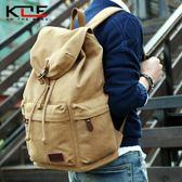 韓版男士帆布雙肩包學院大學生書包復古電腦背包大容量旅行包男包  莉卡嚴選