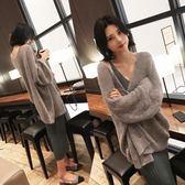 針織外套 慵懶風針織開衫外套女韓版早秋新款長袖bf寬鬆毛線中長款毛衣 唯伊時尚