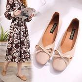 新款淺口單鞋女夏時尚蝴蝶結復古方頭奶奶鞋平底一腳蹬軟底淑女鞋
