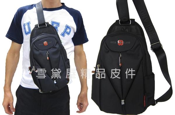 ~雪黛屋~OVER-LAND 單肩後背包小容量二層主袋可單左肩單右肩防水尼龍布材質輕便隨身物品T3130
