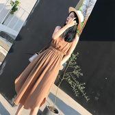 氣質顯瘦v領襯衫連身裙棉麻長裙女裙子吾本良品