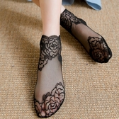 3雙裝 蕾絲襪子女日系花邊短襪網紗透氣船襪超薄棉底防滑【聚寶屋】