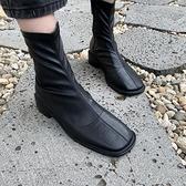 韓國東大門S081745方頭平底短靴百搭顯腳小女鞋單靴-Milano米蘭