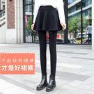 假兩件打底褲女秋冬加絨加厚外穿踩腳帶裙子的連褲裙裙褲一體-ifashion