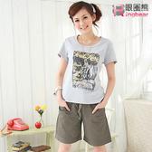 短褲--夏日穿著中腰羅紋抽繩褲頭綴釦短褲(黑.藍.咖綠M-6L)-R23眼圈熊中大尺碼