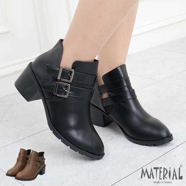 短靴 俐落側雙扣V開口短靴 MA女鞋 T5608