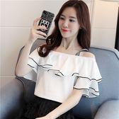 短袖雪紡衫女2018夏季新款韓版露肩吊帶一字領襯衫
