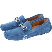 Salvatore Ferragamo PARIGI 馬蹄飾麂皮休閒鞋(女/藍色) 1720254-23