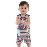 【愛的世界】純棉海鸚鵡橫紋背心連身褲/6個月-台灣製- ★春夏連身 outlet零碼