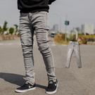 牛仔褲 質感灰色無破素面彈性合身牛仔褲【NB0699J】