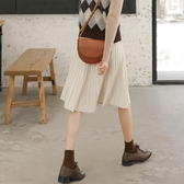短裙女半身裙a字裙學生秋裝百搭垂感高腰針織百褶裙洋氣黑色裙子