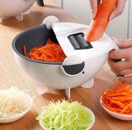 現貨廚房多功能土豆切絲切片器切菜器瀝水籃洗菜藍家用刨絲器台件代發 海角七號