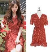 洋裝 收腰一片式櫻桃碎花荷葉邊連身裙印花魚尾裙 超值價
