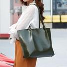 時尚女生單肩包 簡約純色托特包 歐美百搭女包包 油蠟皮韓版氣質大包包 大容量女士托特包