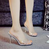 拖鞋女夏外穿高跟新品正韓簡約時尚外出女涼拖9公分細跟拖鞋