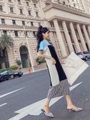 VK精品服飾 韓國學院風時尚寬松學生針織撞色短袖洋裝