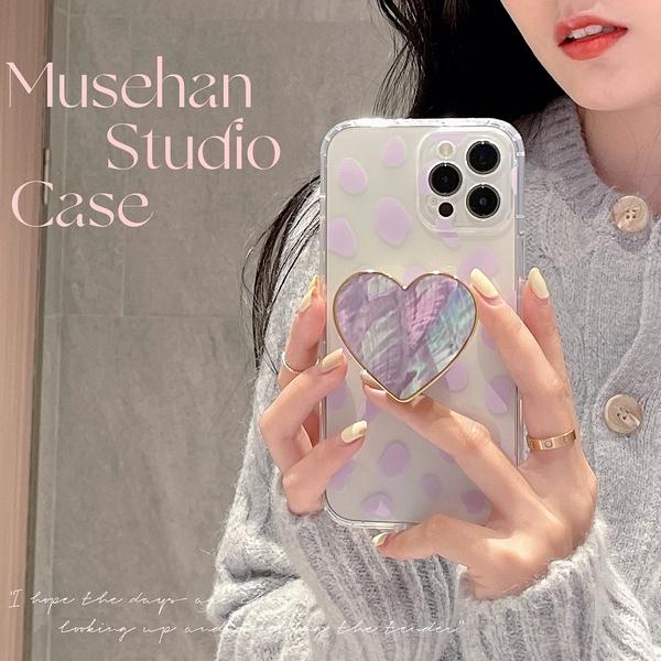 韓國ins紫色豹紋金邊支架蘋果手機殼 iphone12/11Promax/Xr/78Plus/Xsmax