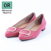 【ORiental TRaffic】簡約金屬方釦平底鞋-熱情紅