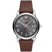 【台南 時代鐘錶 Emporio Armani】亞曼尼 AR11175 雅痞風 數字 日期顯示 皮革錶帶男錶 鐵灰/咖啡 43mm