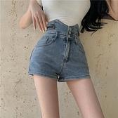 高腰闊腿 牛仔褲女 春季 新款 修身 短褲 設計感 A字褲子 網紅 顯瘦 熱褲潮