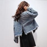 牛仔外套-毛鬚韓版時尚後開岔排扣女丹寧夾克73tj5【時尚巴黎】