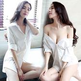 性感睡衣女夏火辣成人騷情趣睡裙中長款大碼白襯衫透明內衣老公裙 森雅誠品