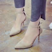 細跟鞋 新款韓版包頭一字扣涼鞋女黑色性感百搭女士高跟鞋子 - 古梵希