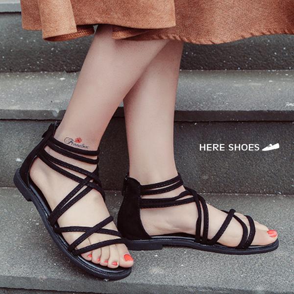 [Here Shoes] 舒適簡約款 絨布 羅馬涼鞋─ASD118