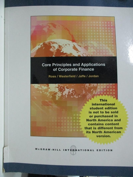 【書寶二手書T1/大學商學_DXR】Core Principles and Applications of Corporate Finance_Ross