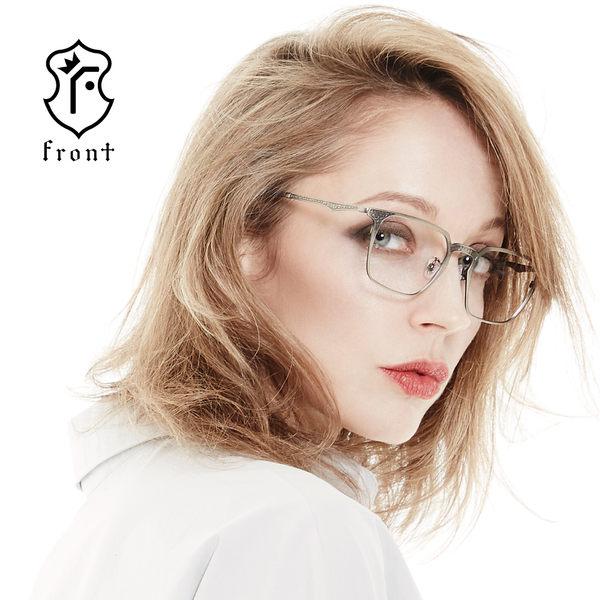 【Front 光學眼鏡】GM3102-三色可挑選(復古刻紋細方框光學眼鏡)