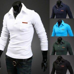 衫 2014秋裝새로운 韓味男士個性時尚翻領口袋皮標設計百搭修身POLO衫