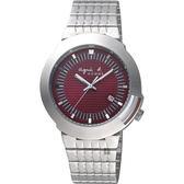 agnes b. 原創法國經典手錶-酒紅x銀/40mm 7N32-0CT0R(BF6314P1)