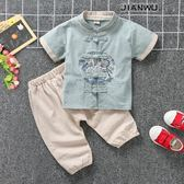 寶寶唐裝兒童棉麻中式兩件套裝