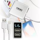 MINIQ智慧型數字顯示3.4A雙孔旅充頭充電器+iPhone/ipad系列 傳輸充電線-白配白