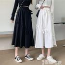 半身裙 蝴蝶結半身裙女夏設計感小眾2021新款春款白色垂感裙子高腰a字裙 【99免運】