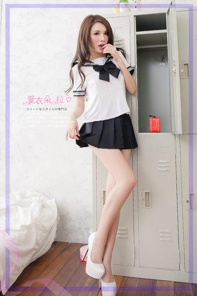 水手服 學生制服 3L 中大尺碼角色扮演服飾 黑色女學生服-愛衣朵拉