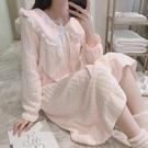 睡裙 珊瑚絨睡衣女秋冬季睡裙粉紅可外穿加厚大碼法蘭絨可愛春天家居服【免運】
