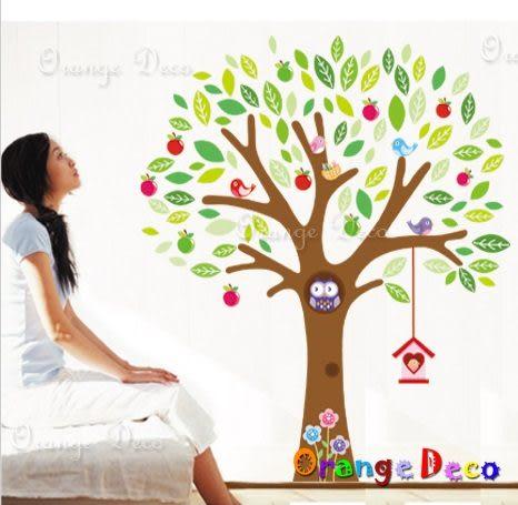 壁貼【橘果設計】樹與鳥兒 DIY組合壁貼/牆貼/壁紙/客廳臥室浴室幼稚園室內設計裝潢
