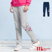 JJLKIDS 女童 英字鬆緊直筒運動休閒棉長褲(2色)